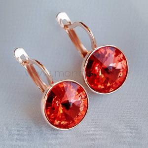 Серьги Чародейка с красными кристаллами Swarovski