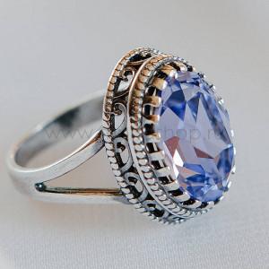 Кольцо «Винтаж» с кристаллом Swarovski лавандового цвета
