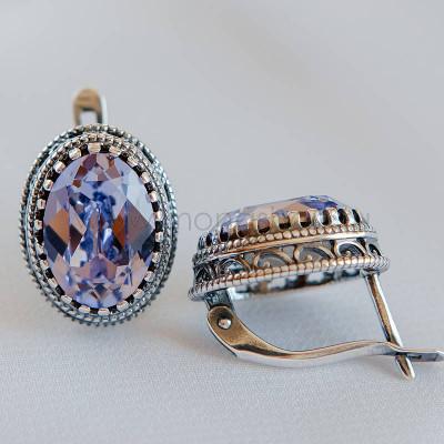 Серьги Винтаж с кристаллами Swarovski лавандового цвета