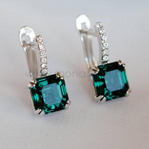 Серьги Принцесса с изумрудными кристаллами Swarovski