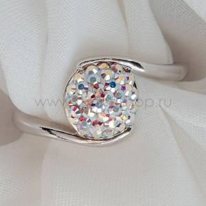 Кольцо «Стелла» с кристаллами-хамелеонами Сваровски