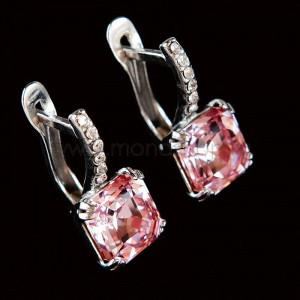 Серьги Принцесса с розовыми кристаллами Swarovski