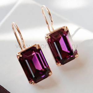 Серьги Аметистовый цвет с прямоугольными камнями Swarovski