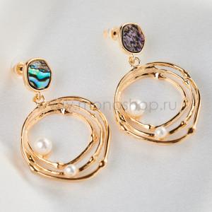 Серьги-кольца Лесная нимфа с серым перламутром и жемчугом