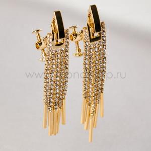 Клипсы-подвески Бриллиантовые кисточки с кристаллами
