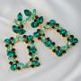 Серьги-подвески крупные Зеленый сад с кристаллами