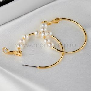 Серьги-кольца Легкость с белыми жемчужинами