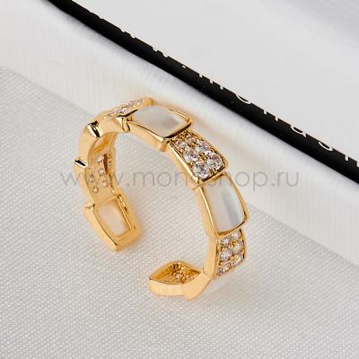 Кольцо Змея с белым перламутром и кристаллами