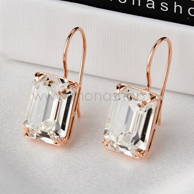 Серьги Бриллиантовый цвет с прямоугольными камнями Swarovski