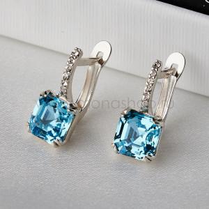 Серьги Принцесса с голубыми кристаллами Swarovski