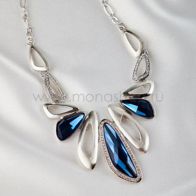 Колье Сапфировый блеск с синими кристаллами Сваровски