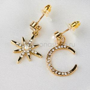 Серьги непарные Звезда и Полумесяц с белыми жемчужинами и фианитами