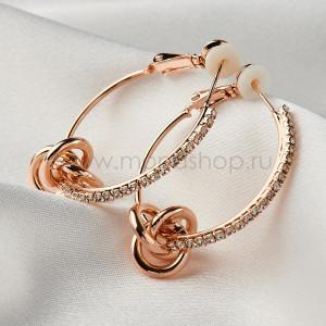 Серьги-кольца Узелки с чешскими кристаллами