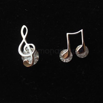 Серьги непарные Ноты и скрипичный ключ с фианитами, покрытие - родий