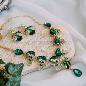 Набор «Изумрудный» с зелеными кристаллами