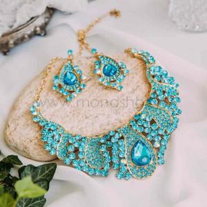 Комплект «Морской бриз» с голубыми кристаллами