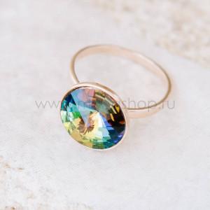 Кольцо «Чародейка» с зеленым кристаллом-хамелеоном Swarovski