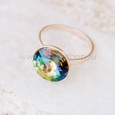 Кольцо Чародейка с зеленым кристаллом-хамелеоном Swarovski