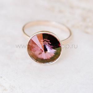Кольцо «Чародейка» с бордовым кристаллом-хамелеоном Swarovski