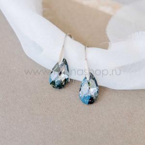Серьги-капли Свечение с серыми кристаллами Swarovski