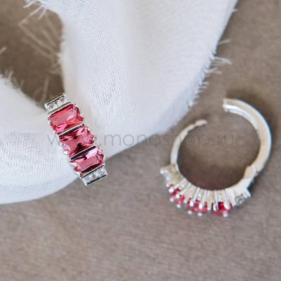 Серьги-кольца Розовая лагуна с цирконием