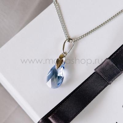 Кулон «Хрустальные капли» с голубым кристаллом Сваровски
