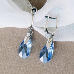 Серьги-подвески Хрустальные капли с голубыми кристаллами Сваровски