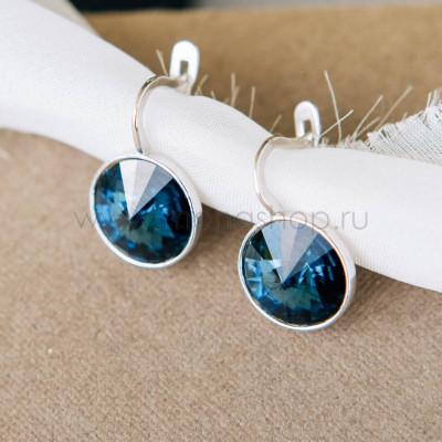 Серьги Чародейка с синими кристаллами Swarovski