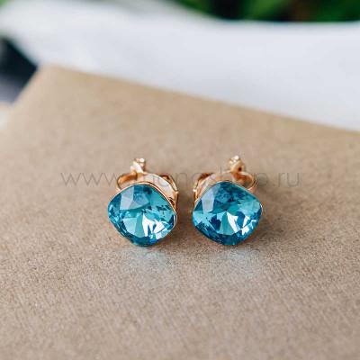 Клипсы «Чаровница» с голубыми кристаллами Сваровски