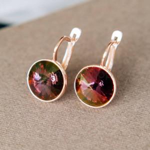 Серьги «Чародейка» с бордовыми кристаллами-хамелеонами Swarovski