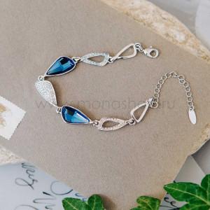 Браслет «Сапфировый блеск» с синими кристаллами Сваровски