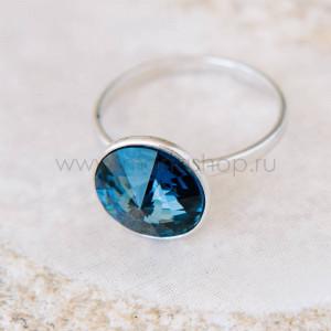 Кольцо «Чародейка» с синим кристаллом Swarovski