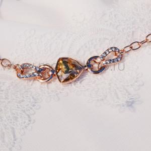 Браслет тонкий «Бермудский треугольник» с кристаллом Сваровски