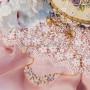 Колье «Хрустальные цветы» с белым цирконием, покрытие-желтое золото