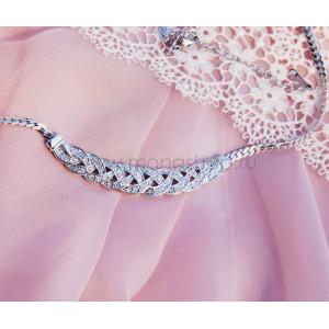 Колье «Встреча» с австрийскими кристаллами, покрытие - родий