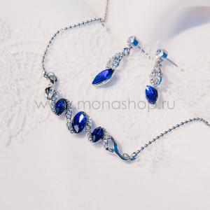 Комплект Незабудка с синими кристаллами Swarovski