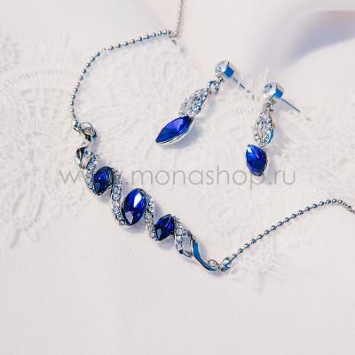 Комплект «Незабудка» с синими кристаллами Swarovski