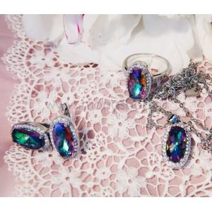 Комплект «Созвездие» с овальными камнями-хамелеонами Сваровски