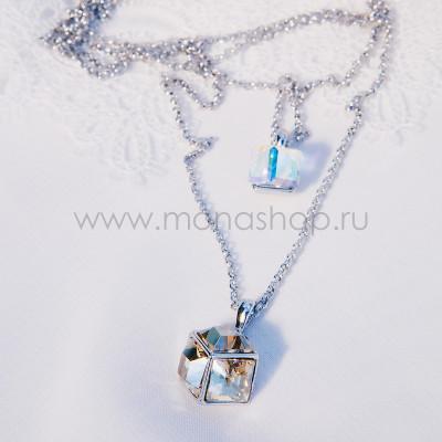 Кулон «Кубики» на двойной цепочке с кристаллами Сваровски