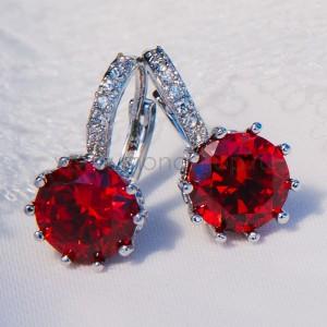 Серьги «Аврора» с красным цирконием
