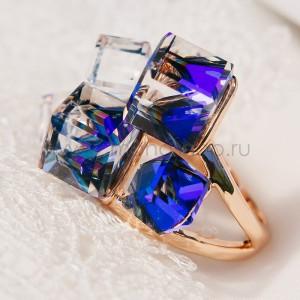 Кольцо «Миражи» с синими кристаллами Сваровски