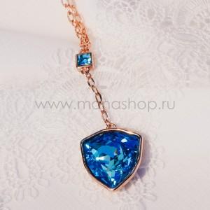 Кулон «Морской якорь» с голубым кристаллом Сваровски