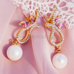 Серьги «Золушка» с жемчугом и розовыми кристаллами Swarovski