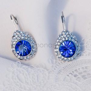 Серьги «Васильки» с синими камнями Сваровски