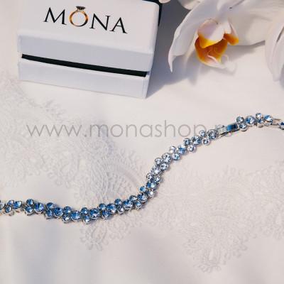 Браслет Бриллиантовая дорожка с кристаллами Сваровски, покрытие-родий