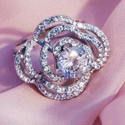 Кольцо «Ажур» с цирконием