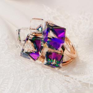 Кольцо «Миражи» с фиолетовыми кристаллами Сваровски