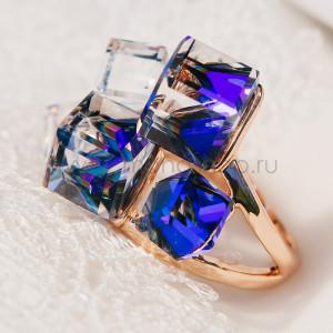 Кольцо Миражи с синими кристаллами Сваровски