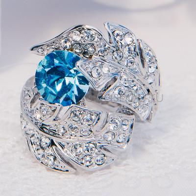 Кольцо «Перо Жар-Птицы» с голубым кристаллом Сваровски