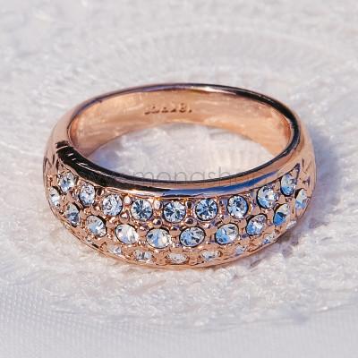Кольцо «Снегопад» с австрийскими кристаллами, покрытие-золото